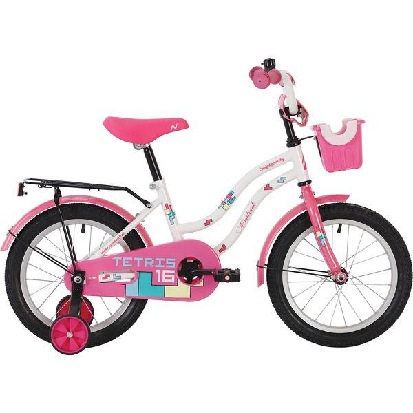 """Велосипед NOVATRACK 16"""", TETRIS, белый , тормоз нож, крылья цвет, багажник хром. 117041"""