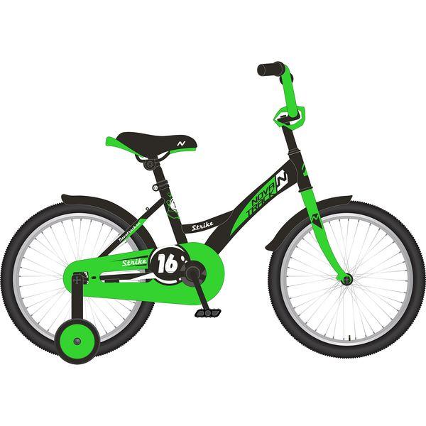 """Велосипед NOVATRACK 16"""", STRIKE, черный-зелёный, тормоз нож., крылья и багажник хром."""