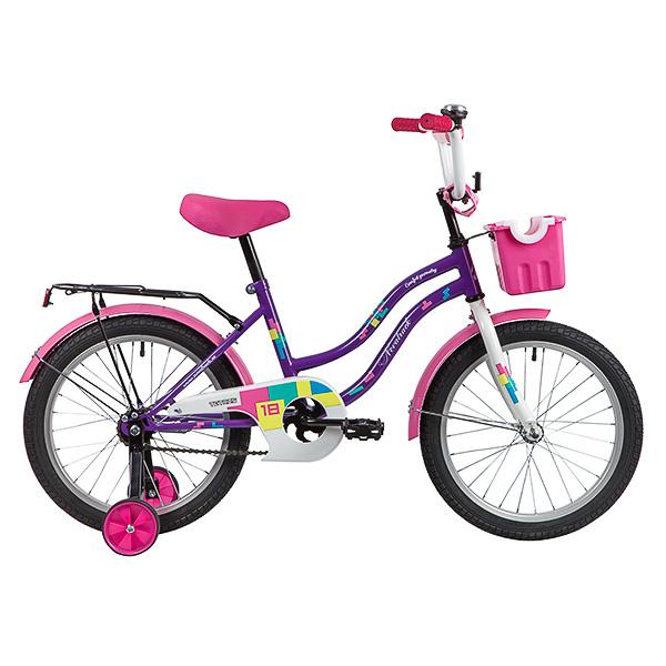"""Велосипед NOVATRACK 18"""", TETRIS,фиолетовый,тормоз нож.,крылья цвет,багажник хромир.,"""