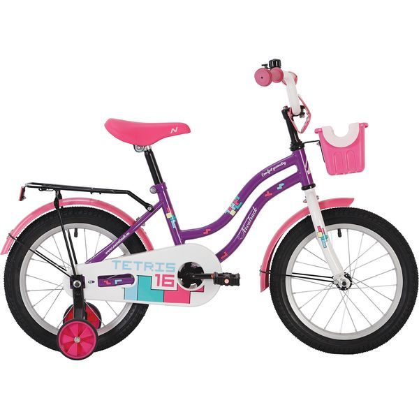 """Велосипед NOVATRACK 20"""" TETRIS, фиолетовый, тормоз нож, крылья, багажник хром. 117060"""