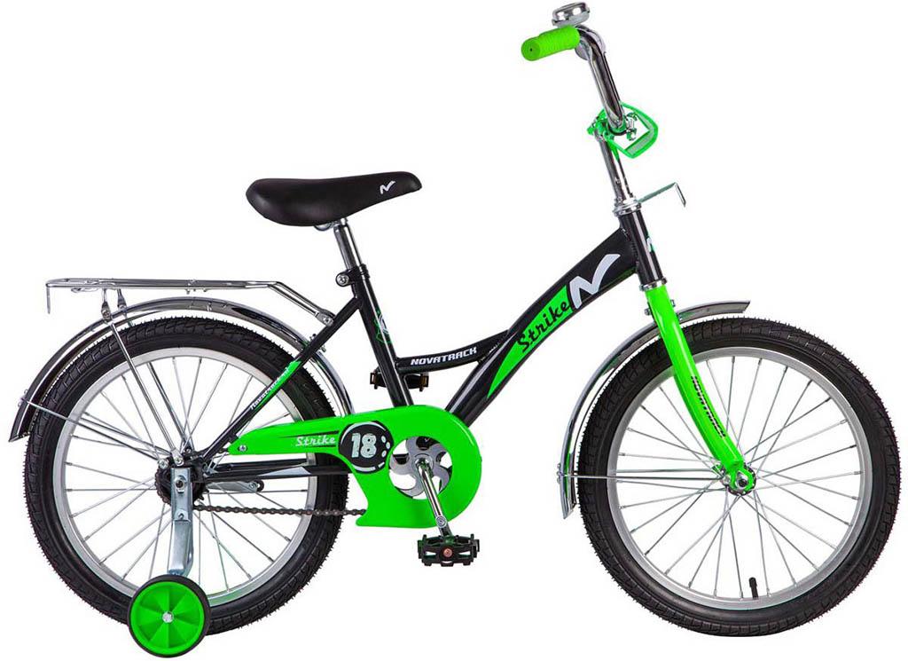 """Велосипед NOVATRACK 20"""" STRIKE, черный-зелёный, тормоз нож., крылья и багажник хром."""