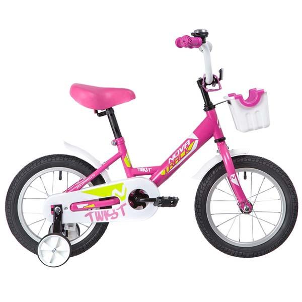 """Велосипед NOVATRACK 14"""" TWIST, розовой, тормоз нож, крылья цвет, багажник хром. 117034"""