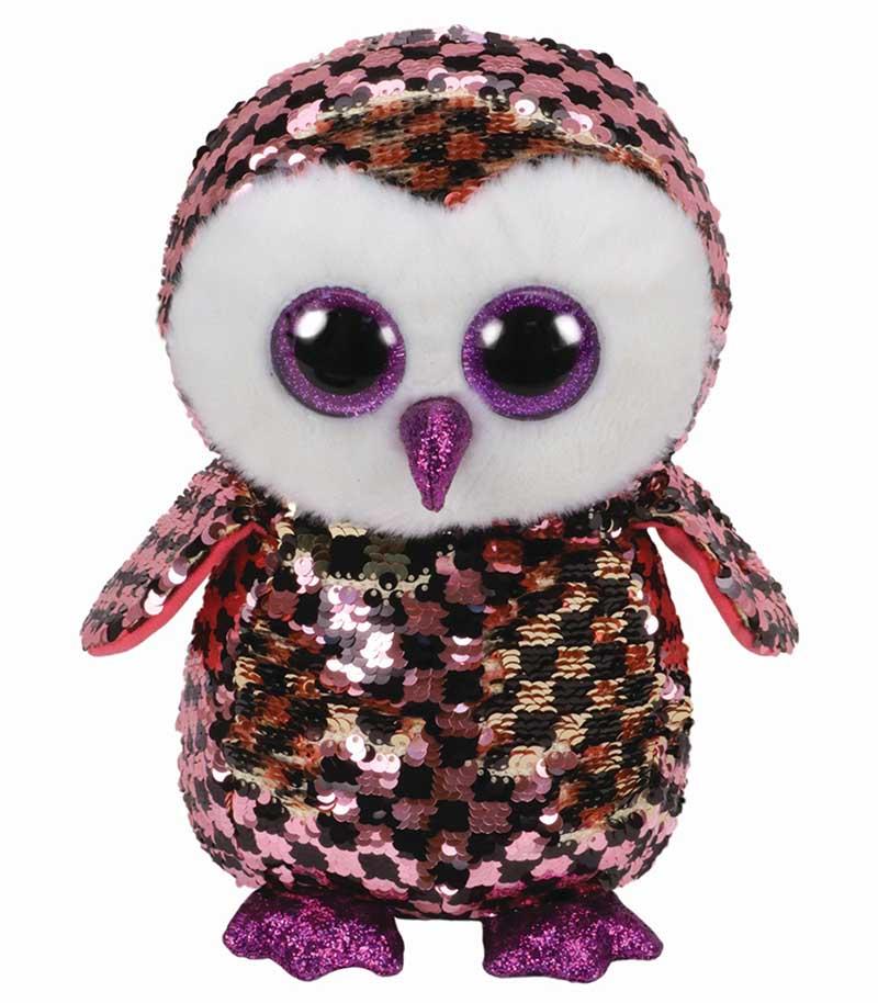 36785 TY Flippables CHECKS - розово-черная сова в пайетках 25 см
