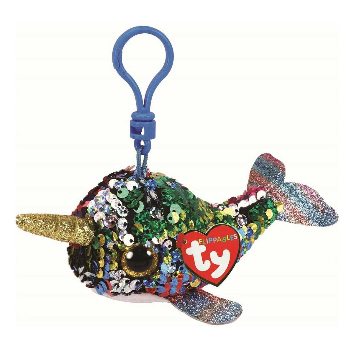 35304 TY Flippables CALYPSO - разноцветный кит с рогом, с пайетками игрушка-брелок 10 см