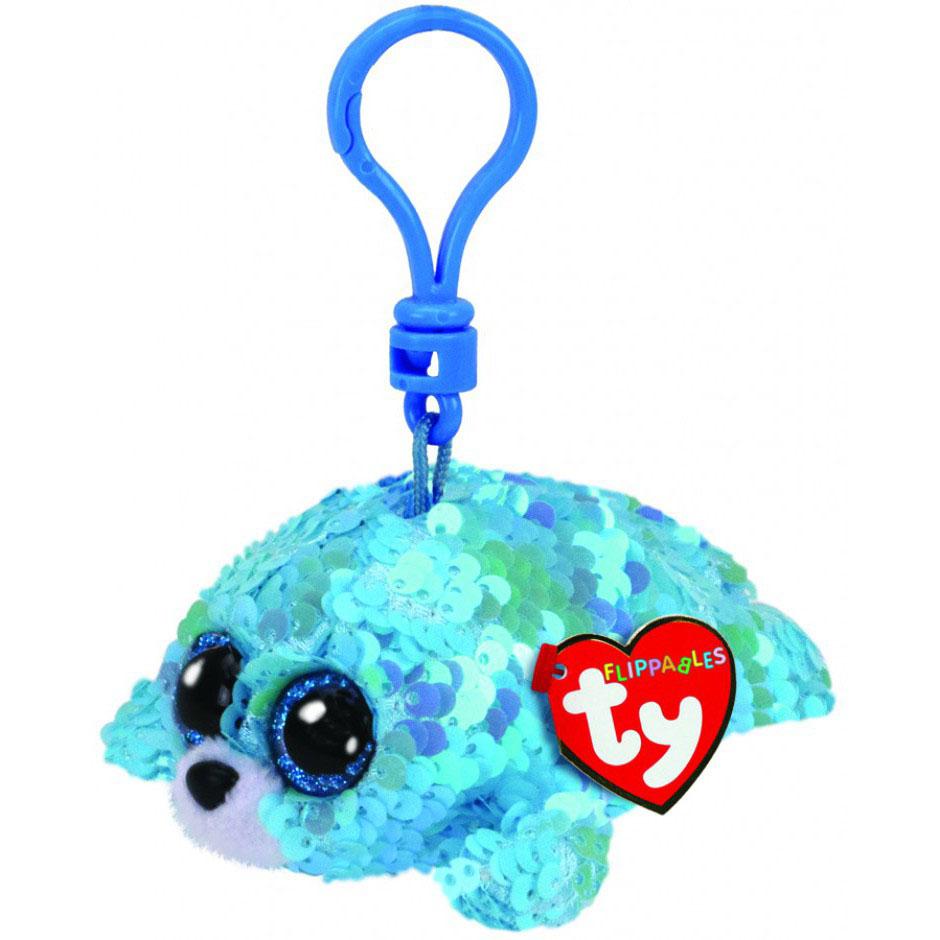 35306 TY Flippables WAVES - голубой тюлень, игрушка-брелок 10 см с пайетками