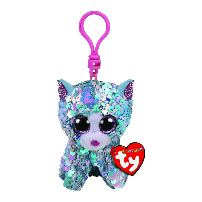 35308 TY Flippables WHIMSY - синий кот, игрушка-брелок, 10 см в пайетках