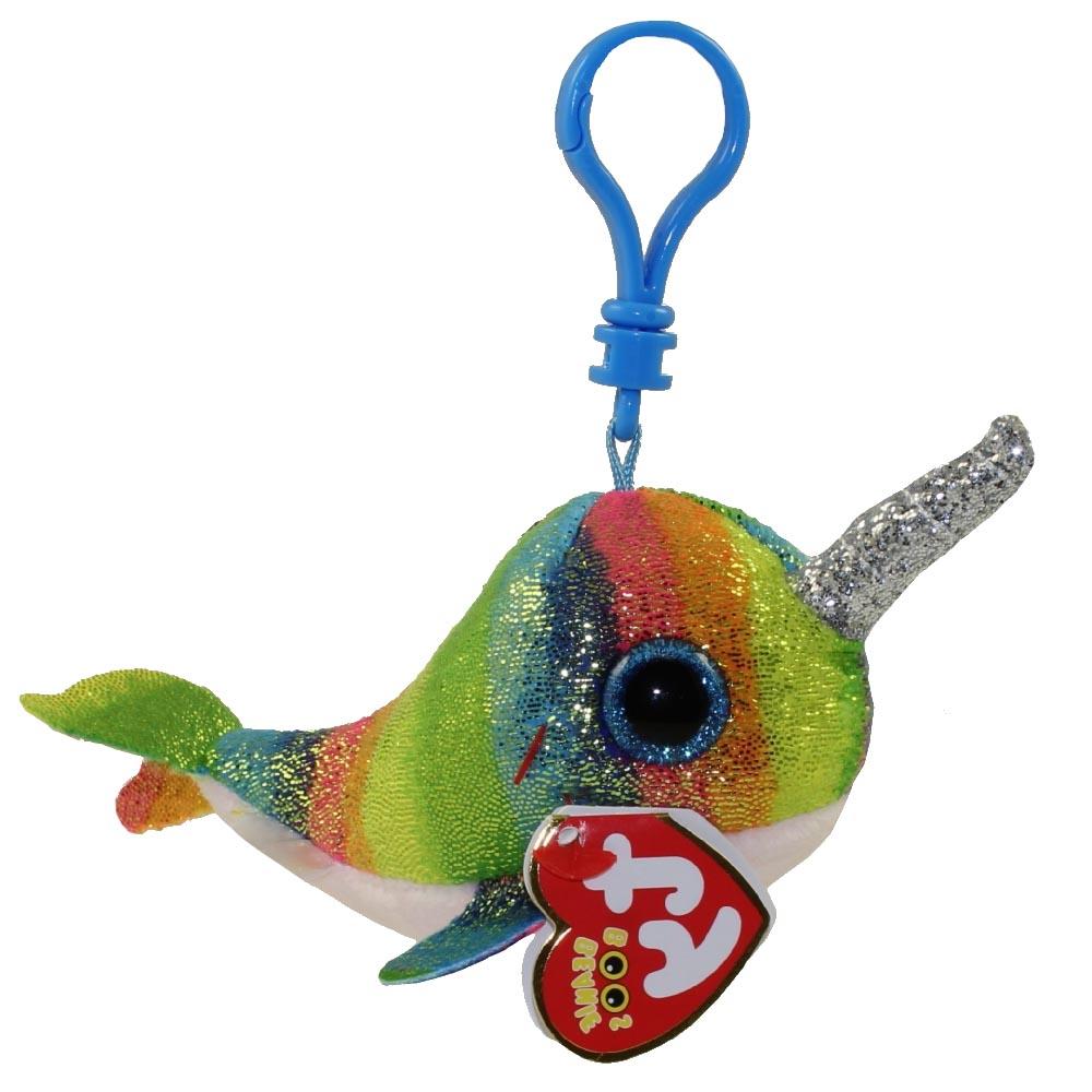 36560 Beanie Boo's NORI - разноцветный блестящий кит с рогом, игрушка-брелок 10 см