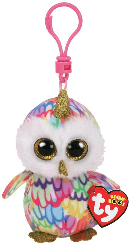 35224 Beanie Boo's ENCHANTED игрушка-брелок разноцветная сова с рогом 10 см