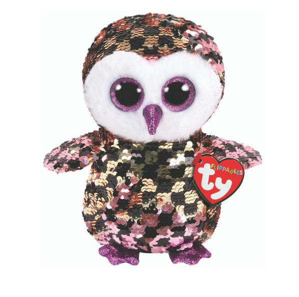 36673 TY Flippables CHECKS - розово-черная сова в пайетках 15 см