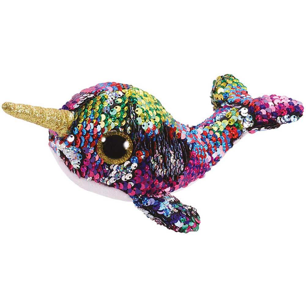 36675 TY Flippables CALYPSO - разноцветный кит с рогом, в пайетках 15 см