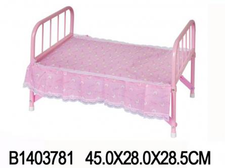 1403781 Игровой набор мебели. КРОВАТЬ РОЗОВАЯ (с металл. каркасом 45x28 см).