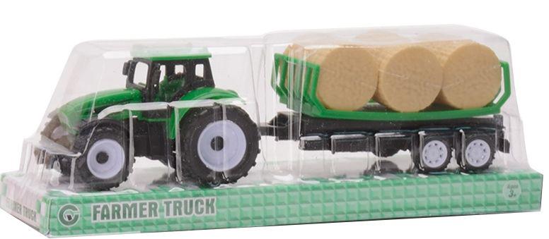 Трактор №9975-6A с прицепом и сеном инерционный/колпак/22*6*7