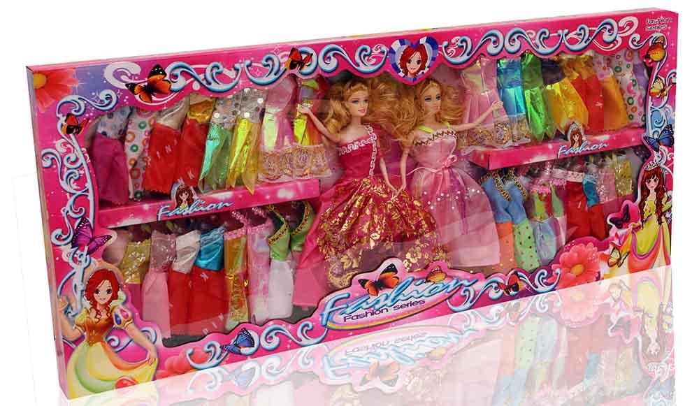 Кукла №6869-130/2шт с набором платьев/коробка /85*37*6