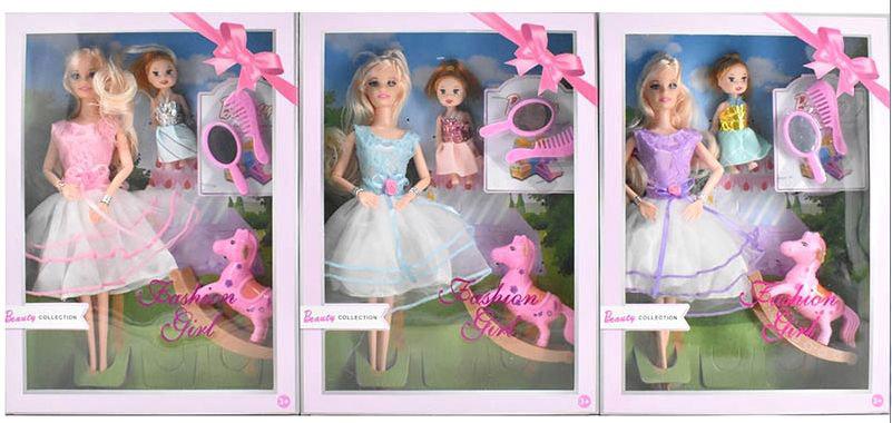 Кукла №887А с аксессуарами с пупсом/коробка/33*24*6