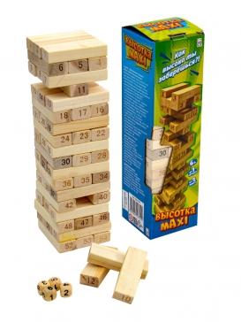 """ИД-0752 Деревянная игрушка. Игра """"Башня. Высотка maxi"""" (28см)"""