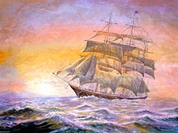 GB275 Алмаз. мозаика (класс.) 30х40 см, без подр., с полн. заполн. (34цв). Корабль на закате.