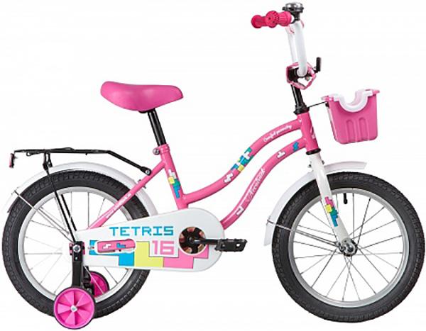 """Велосипед NOVATRACK 16"""", TETRIS, розовый, тормоз нож., крылья цвет., багажник хром."""