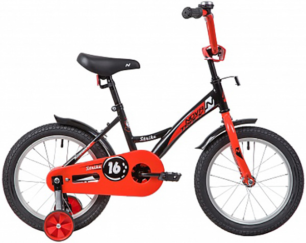 """Велосипед NOVATRACK 16"""", STRIKE черный-красный, тормоз нож., крылья и багажник хром."""