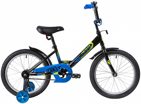 """Велосипед NOVATRACK 18"""", TWIST черный, тормоз нож, крылья и багажник хром."""