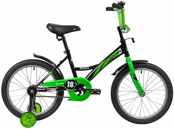 """Велосипед NOVATRACK 18"""", STRIKE черн-зеленый, тормоз нож, крылья и багажник хром"""
