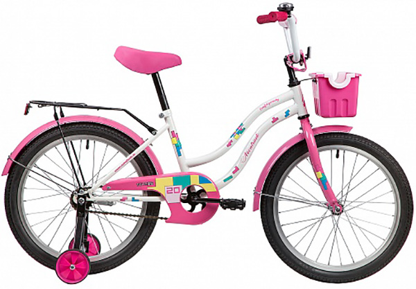 "Велосипед NOVATRACK 20"", TETRIS белый, тормоз нож, крылья, багажник хром. 117060"