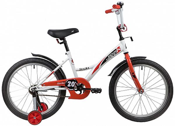 """Велосипед NOVATRACK 20"""", STRIKE белый-красный, тормоз нож., крылья и багажник черные."""