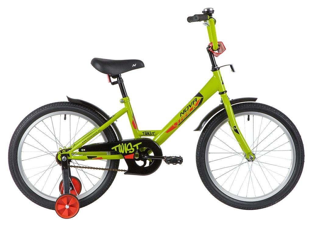 """Велосипед NOVATRACK 20"""", TWIST зеленый, тормоз нож, крылья и багажник хром."""