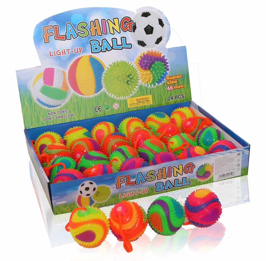 Мяч Ежик №19-19 на резинке/d-6,5/свет, звук