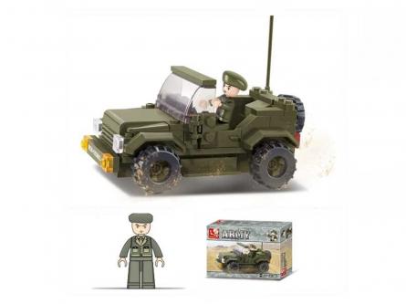 M38-B0296 Конструктор пластиковый. SLUBAN Сухопутные войска.Патрульная машина (121 деталь, 1 фигур.)
