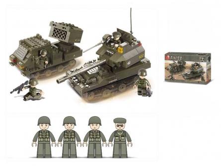 M38-B0288 Конструктор пластиковый. SLUBAN Танковый корпус.Бронетанковая группа (403 детали,4 фигур.)