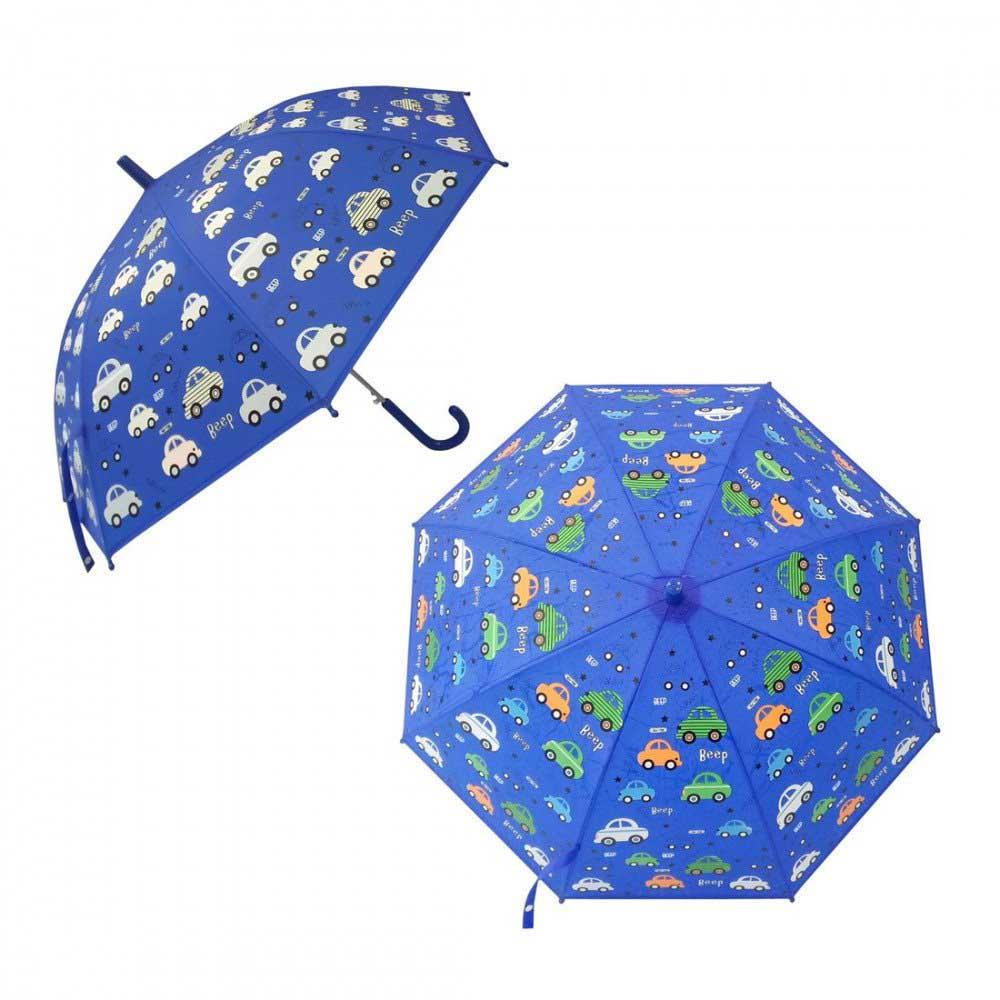 53746 Зонт детский Машинки, рисунок проявляется, полуавтомат, 48,5см.