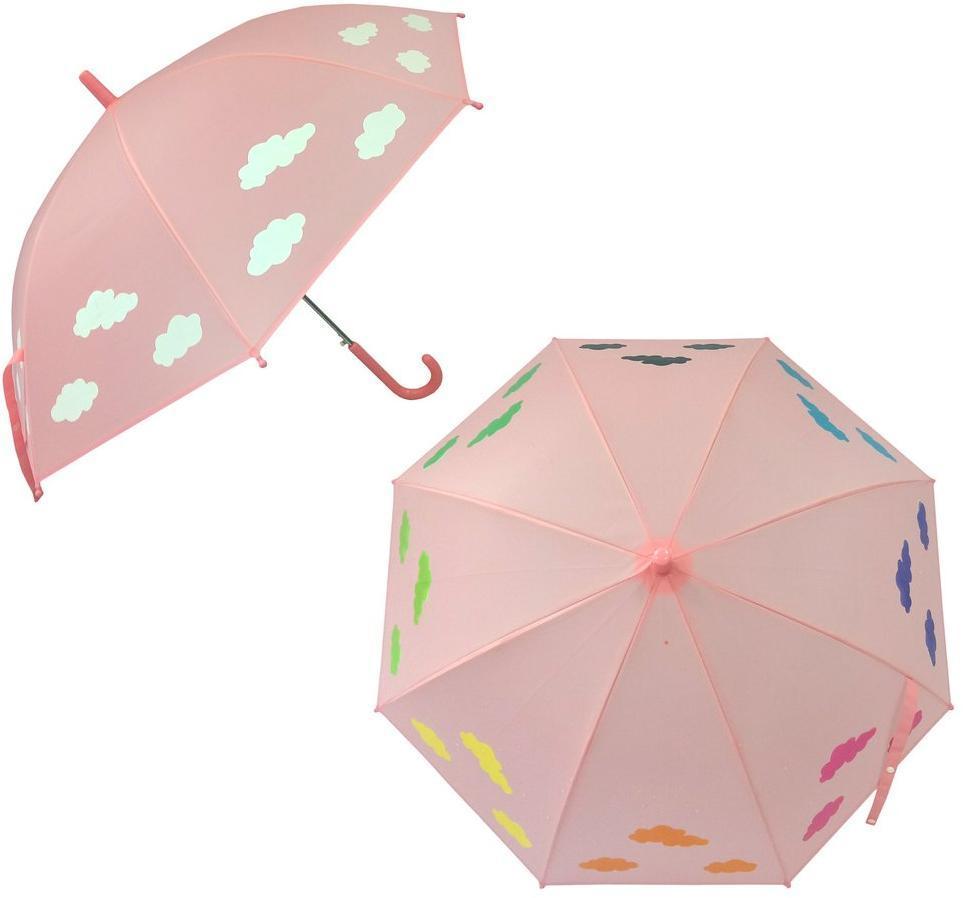 53744 Зонт детский  Облака, рисунок проявляется, полуавтомат, 48,5см