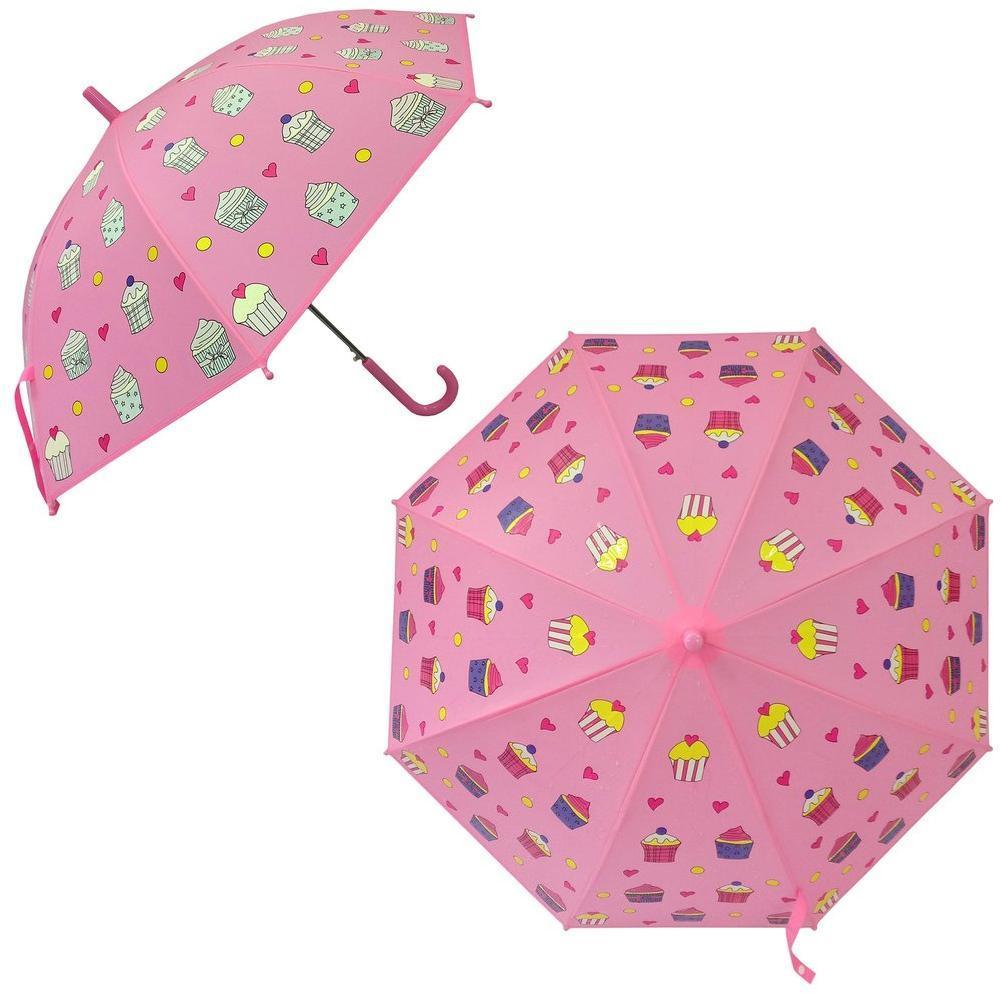 53745 Зонт детский  Пирожное, рисунок проявляется, полуавтомат, 48,5см.