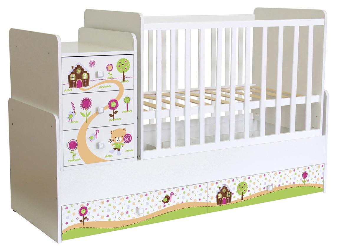 Кроватка детская Polini kids Simple 1100 Пряничный домик, белый