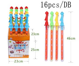 Мыльные пузыри №5555A-2/46см/90мл/блок 16шт/с рычагом на ручке/рогатка с колечками