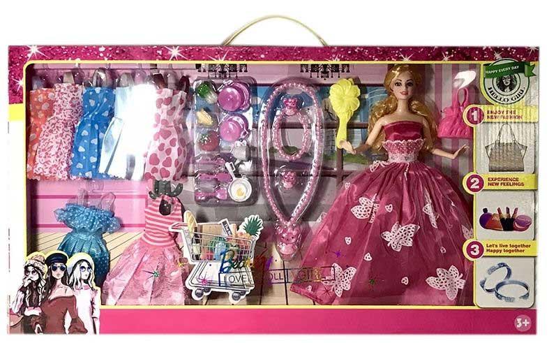 Кукла №1055-4 с набором одежды и аксессуарами/коробка/60*6*33