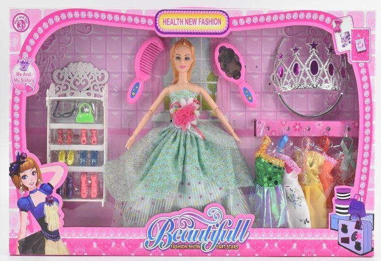 Кукла №6605-С с набором одежды и аксессуарами/коробка/55*6*33