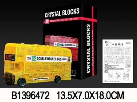 """Конструктор пластиковый. 3D пазл """"Лондонский автобус"""" (54 дет.) (Арт. 1396472)"""