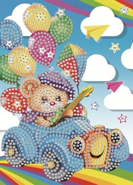 Алмаз. мозаика. Открытка 13х18 Медвежонок с шариками (Арт. М-9357)