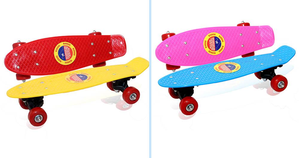 Скейт-круизер №YB-1705/Z0088/ пластик/цвета микс/4колеса/платформа-41см, колеса PVC- 45*25mm