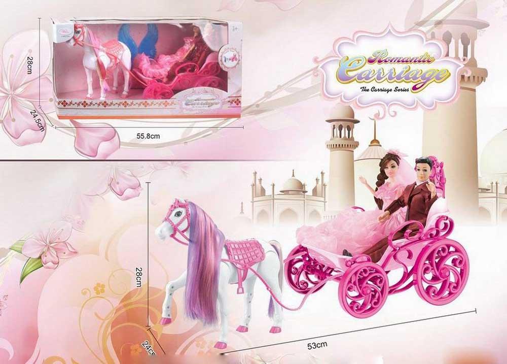 Сказочная карета №808А с принцессой и принцем/коробка/55,8*24,5*28