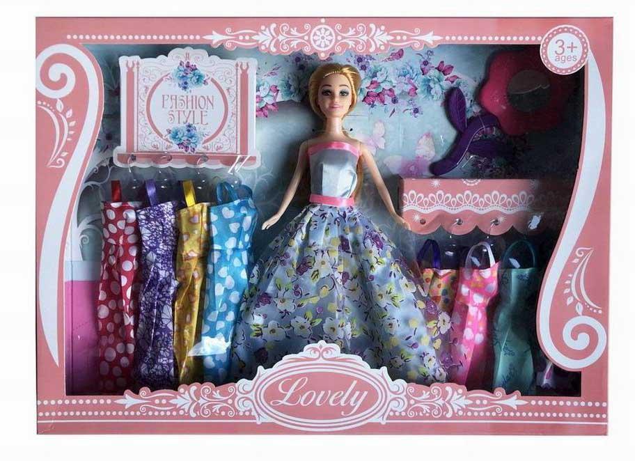 Кукла №1035С с набором платьев и аксессуарами/коробка/45*6*32,5