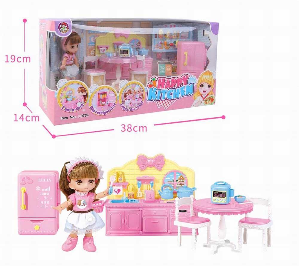 Куколка №L0734 с кухонной мебелью и аксессуарами/коробка/38*14*19