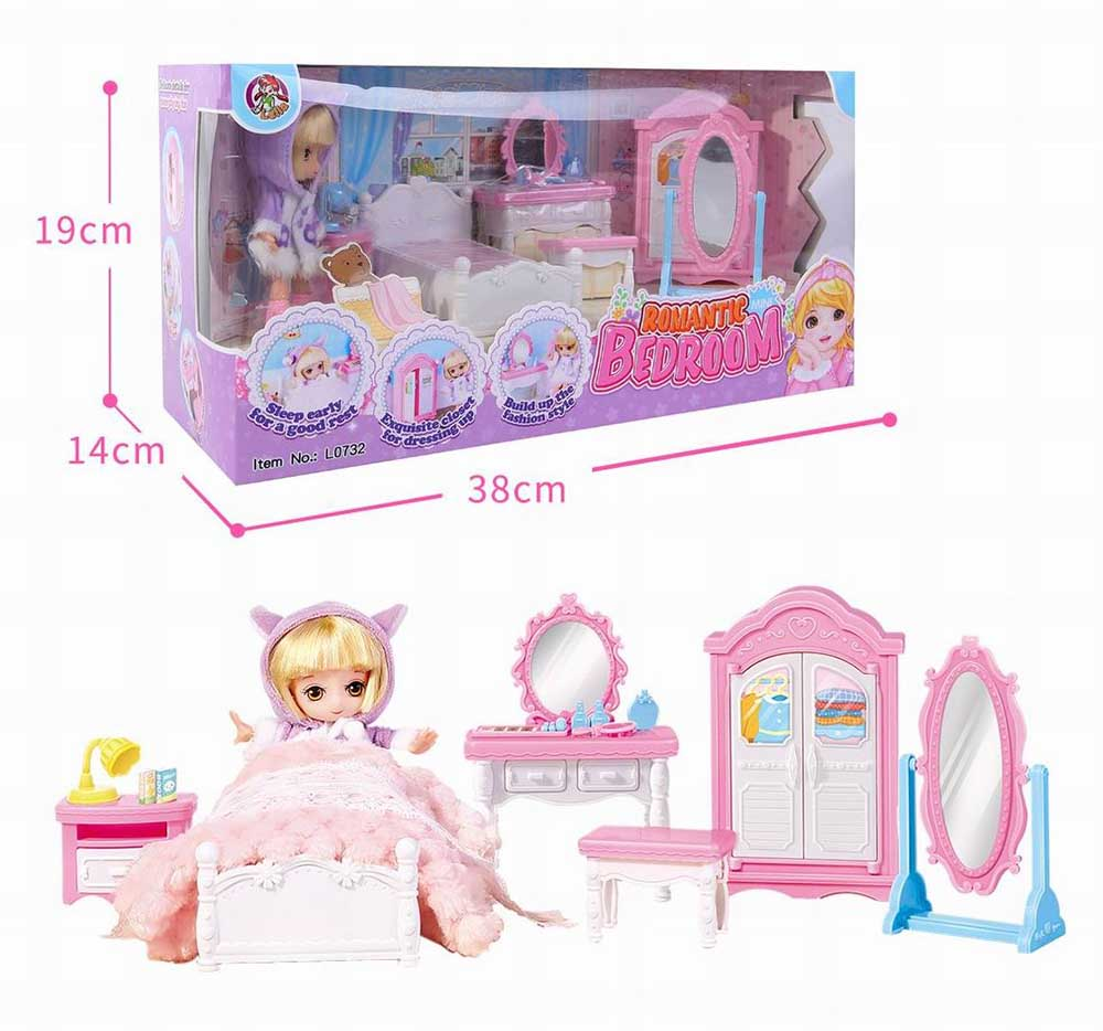 Куколка №L0732 в спальной комнатке/коробка/38*14*19