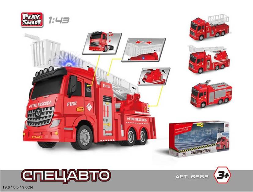 Машина Play Smart Спецавто «Пожарный автомобиль» со световыми и звуковыми эффектами 1:43 в коробке 19.0х9.0х6.5 см
