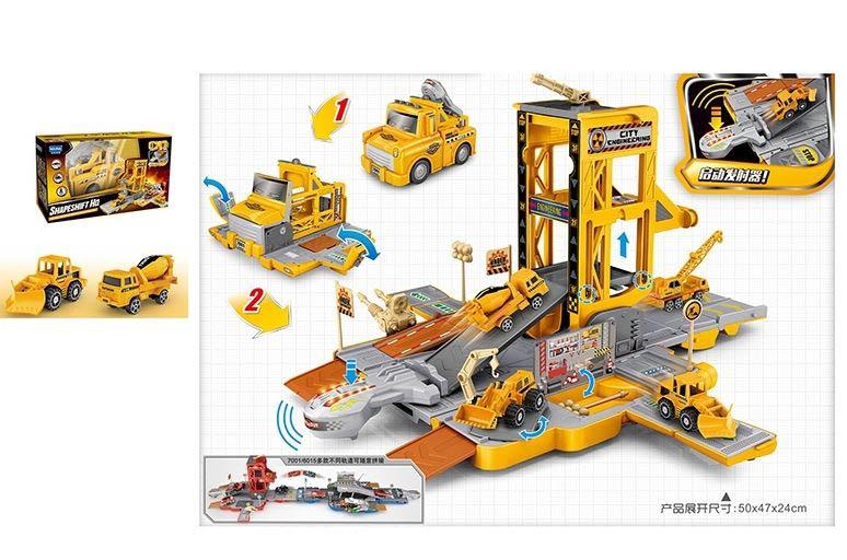 Машина №Е7001 трансформируется в парковку/звук,свет/коробка/36,5*19*21,5