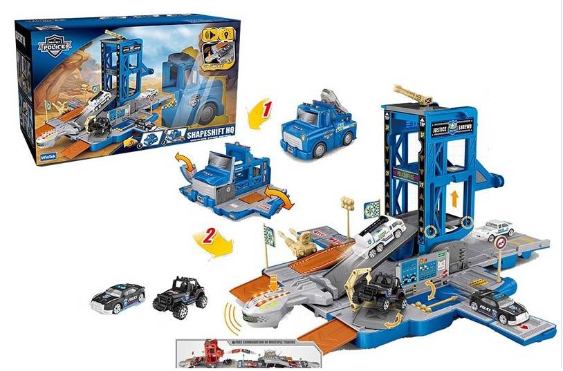Машина №Е7003 трансформируется в парковку/звук,свет/коробка/36,5*19*21,5