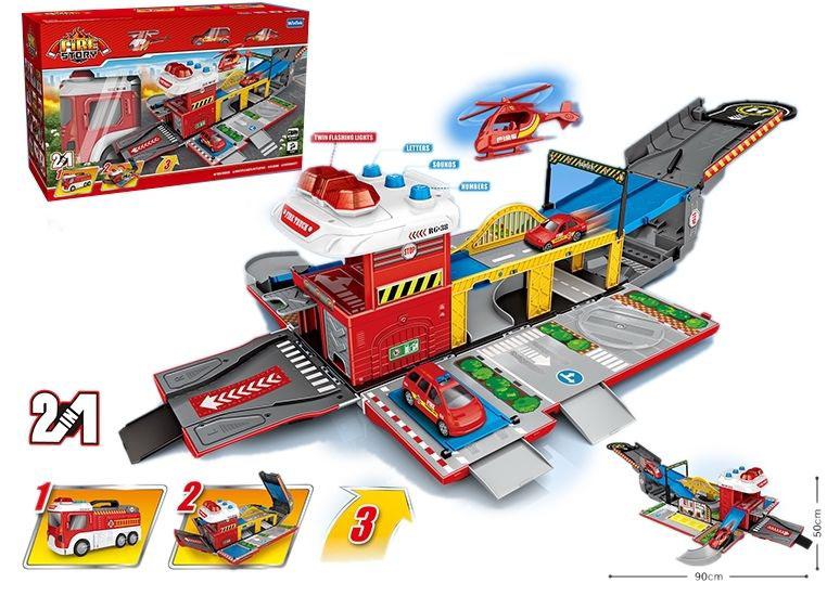 Пожарная машина-парковка №Е5021/свет,звук/коробка/46*28,3*17,3