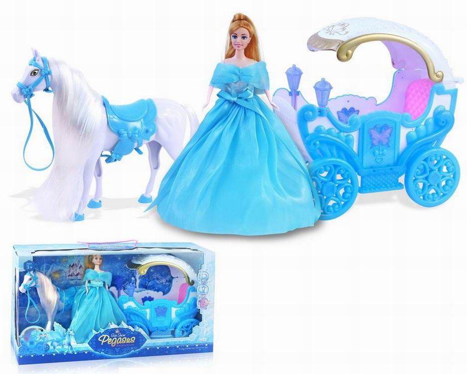 Сказочная карета №686-785 с принцессой/на батарейках, звук,свет/коробка/61*20*33