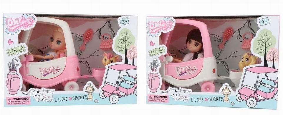 Куколка №58030 в машинке с прицепом и домашним любимцем/коробка/25,4*17,8*11,4
